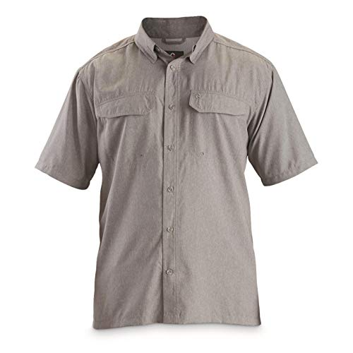 Guide Gear Silver Creek Short Sleeve Shirt, Gray, 2XL