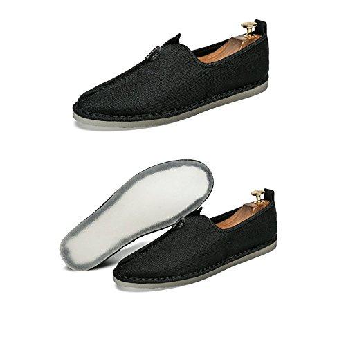 Chinesischer Tang Anzug Hanfu chinesischen Stil Herren Leinen faule Schuhe Sommer Segel alten Peking Zen Schuhe Retro Herrenschuhe (Farbe : Schwarz  größe : 9UK=43EU) Schwarz