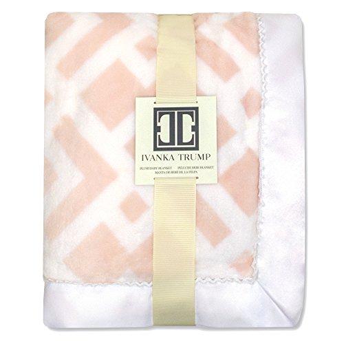 Ivanka Trump Wildflower Collection: Super Soft Plush Baby Blanket - Pink/White Trellis (Flower Trump)