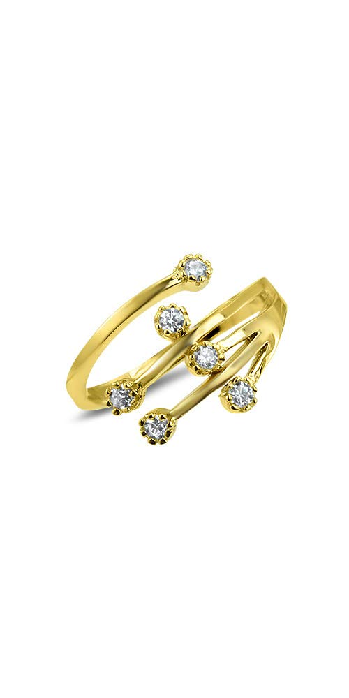 10k Yellow Gold Toe Ring Clear CZ. Size Adjustable