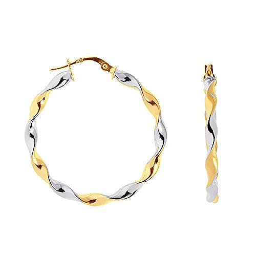 Hooop Earrings (14K Yellow White Gold Tubular Twisted Round Hoop Earrings 3x34 Mm)