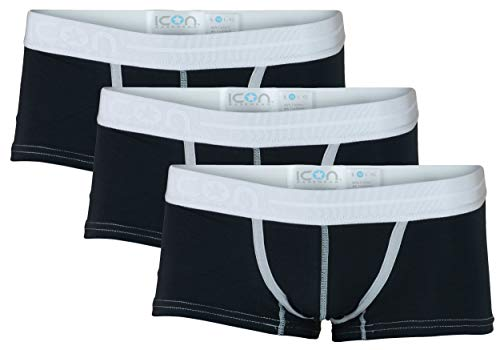 - ICON Basewear Low-Rise Boxer Brief Underwear Trunks, Mens, Three-Pack (Black, Medium)