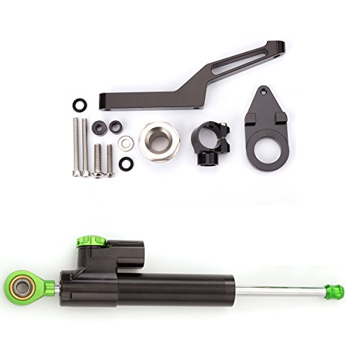 (FXCNC Adjustable Motorcycle Steering Damper Stabilizer & Mount For KAWASAKI ZX6R 2009-2017 Aluminum Black&Green)