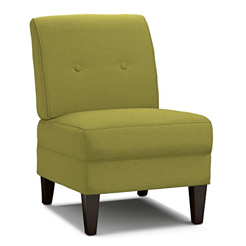 Modern Portfolio Engle Apple Green Linen Armless Chair in Green