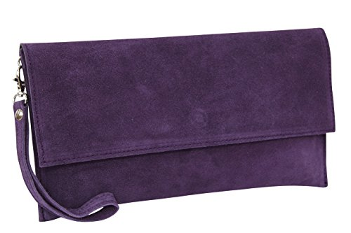 Moda velouté Femme Pochette WL811 avec pour violet Ambra Daim Modèle Dragonne foncé en Hcwqdcaf