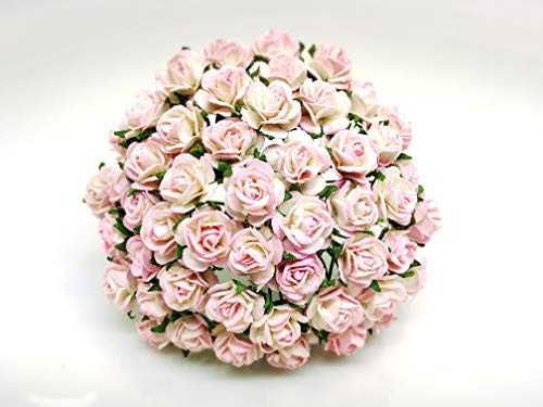 Tyga_Thai Brand 50 pcs. Pink White Color Rose Mulberry Paper Flower Craft Handmade Wedding 10 mm. Scrapbook for so Many Card & Craft Projects CMR1-4#519 (MULBERRY-PAPAER-ROSE-10MM)
