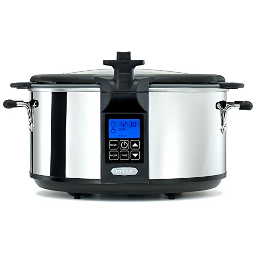 BELLA 6.5 Quart Programmable Searing Slow Cooker with Loc...