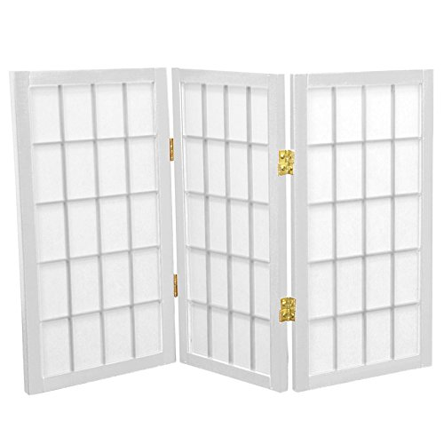 Oriental Furniture 2 ft. Tall Desktop Window Pane Shoji Screen - White - 3 Panels (2 Ft Tall Desktop Window Pane Shoji Screen)