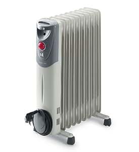 Fagor RN2000 - Radiador de aceite, 2000 W, 9 elementos, 3 posiciones, doble termostato, efecto chimenea, protección antiheladas, recogecables, color gris