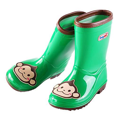 Hugmii Waterproof Anti-Slippery Rubber Animal Rain Boots for Toddler, Little Kids, Big Kids (3 Big Kid, Green) (Toddler Monkey Rain Boots)