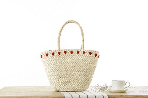 Mogor Women Straw Shoulder Bag A5 Woven Shopping Tote Bag Drawstring Beach Bag Large 1# by Mogor (Image #6)