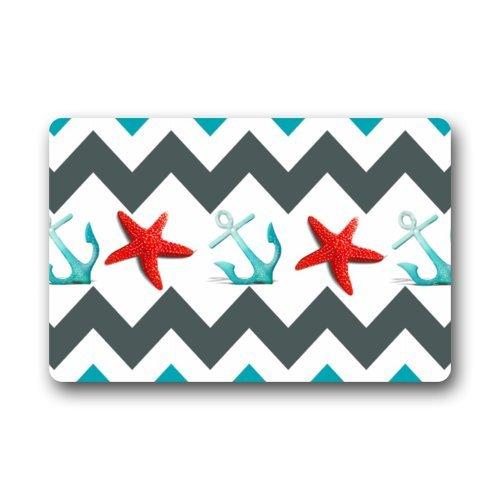 Fantastic-Doormat-Red-Starfish-and-Blue-Anchor-with-Chevron-Art-Pattern-Door-Mat-Rug-IndoorOutdoorFront-DoorBathroom-MatsBedroom-Doormat-236L-x-157W