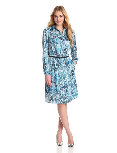 Jones New York Women's Long Sleeve Shirt Dress