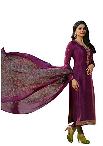 Ladyline Royal Crepe Embroidered Salwar Kameez Partywear Indian Dress (Size_44/ Wine)