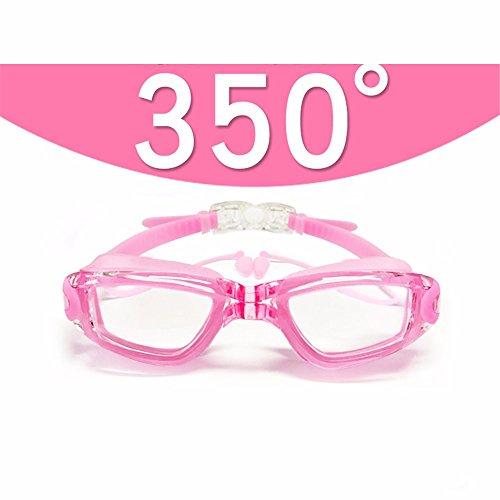 LXKMTYJ Lunettes de natation HD myopie imperméable brouillard hommes et  femmes, rose 350 degrés 4e1d4d206214