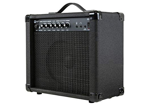 Monoprice 611720 20-Watt 1x8 Guitar Combo Amplifier - Black With 86dB of Gain, 1/4 Inch, Headphone and 3.5mm Aux Mp3 Inputs For Electric Guitars