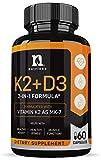 Vitamin K2 with D3 5000 IU Supplement - Vitamin D and K Complex - Bone and Heart Health Vitamin D3 K2 MK7 Formula - 5000 IU Vitamin D3 & 90 MCG Vitamin K2 MK-7-60 K2 D3 Vitamin Capsules
