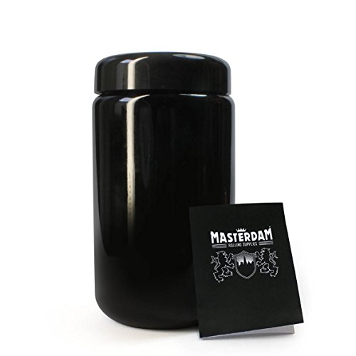 Masterdam Jars 400ml StashShield UV Glass Jar - Smell-Proof Ultraviolet Storage Stash Jar Container Refillable Tall Wide-Mouth (Proof Weed)