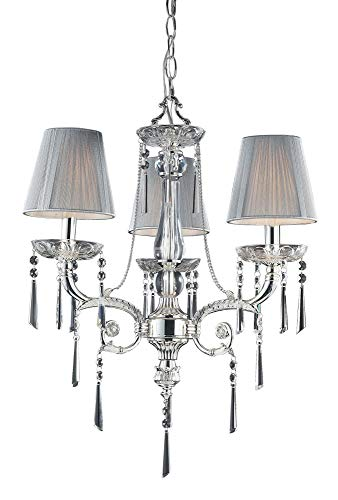 (Elk 2395/3 3-Light Chandelier In Polished Silver and Iced Glass)