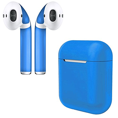APSkins Silicone Case and Stylish Skins Compatible with Apple AirPod Accessories (Cobalt Blue Case & Skin)