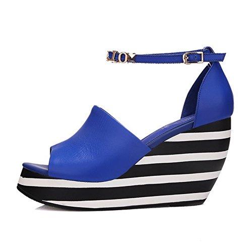 Allhqfashion Kvinners Peep Toe Ku Skinn Høye Hæler Solide Sandaler Med Brev Og Sebra Stripe Blå