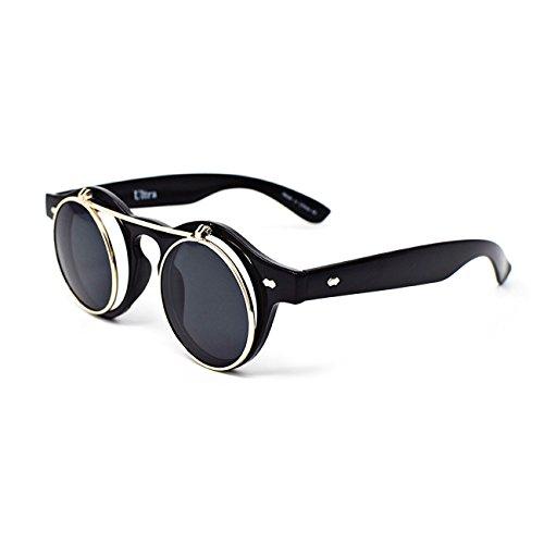 Steampunk Goth Goggles Glasses Retro Flip Up Round Sunglasses Brown - 3