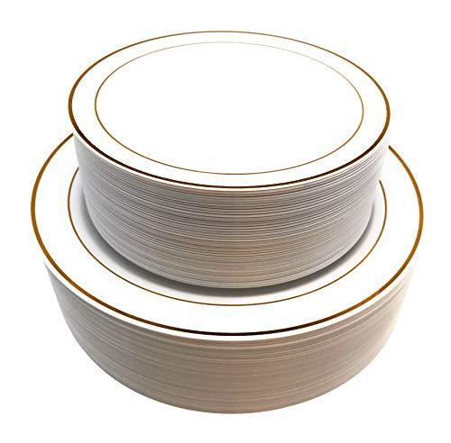Silverware Plastic Plates (90 Piece Gold Rimmed Premium Disposable Plastic Plates Set 45 pc10.25