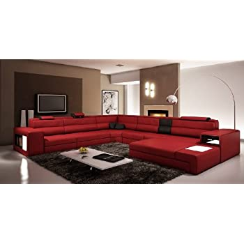 Amazon.com: VIG Furniture 5022 Polaris Red and Black Bonded Leather ...