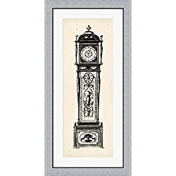 Antique Grandfather Clock I by Vision studio Framed Art Print Wall Picture, Flat Silver Frame, 20 x 40 inches