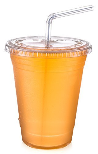 Set of 100 16 oz. Dart Solo Disposable Crystal Clear Plastic Cups With Flat Straw Slot (Dart Crystal)