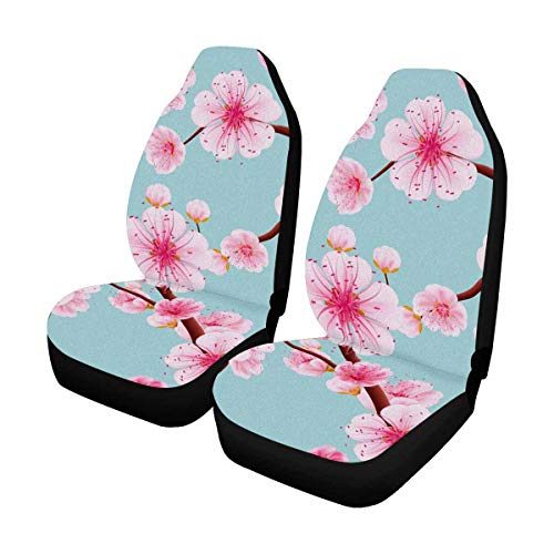 (INTERESTPRINT Pink Sakura Blossom Or Japanese Flowering Cherry Auto Seat Covers Full Set of 2, Universal fit for Vehicles, Sedan and Jeep)