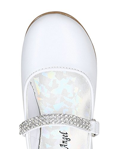 Leatherette Round Toe Rhinestone Mary Jane Ballerina Flat (Toddler/Little Girl) CA05 - White Leatherette (Size: Toddler 7) by Little Angel (Image #3)
