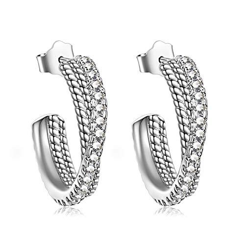 rrings 925 Sterling Silver Twisted Hoop Earrings for Women ()