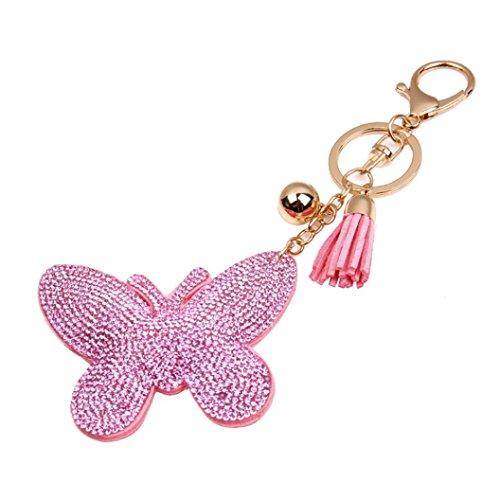 Iuhan® Fashion Butterfly Rhinestone Tassel Keychain Bag Handbag Key Ring Car Key Pendant - Jordan Burberry