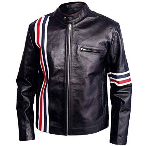 Easy Rider Peter Fonda American Star Biker Black Leather Jacket with USA Flag (2X-Large (Best for Chest Size 48))