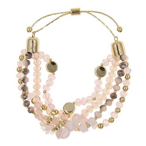 YUJIAXU Adjustable Glass Stone Multistrand Layered Bracelet, Semiprecious Stone Beaded Bracelet Set Pink