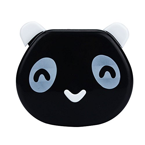 Doinshop Cartoon Panda Candy Color Contact Lens Case Travel Kits Mirror Box (black)