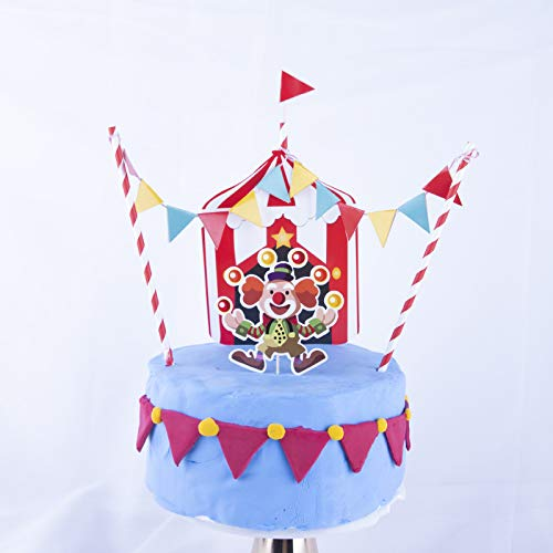 Carnival Theme Cake (PureArte DIY Happy Birthday Circus Carnival Theme Cake Decoration Set For Kids Party Decoration Clown Flags Banner)