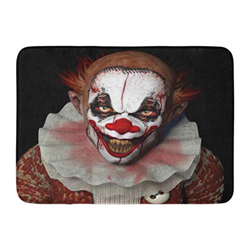 Emvency Doormats Bath Rugs Outdoor/Indoor Door Mat Scary Scarier Clown Sharp Pointy Teeth Glaring at You Horror Evil Creepy Bathroom Decor Rug 16