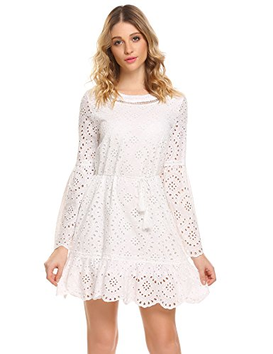 ELESOL Women's Bell Sleeve Eyelet Fit and Flare Belted Mini Party Dress