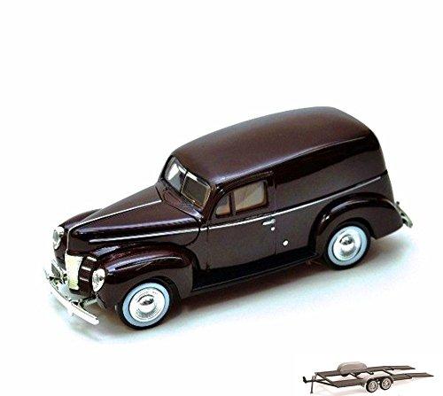 Diecast Car & Trailer Package - 1940 Ford Sedan Delivery, Burgundy - Motormax 73250 - 1/24 Scale Diecast Model Car w/Trailer
