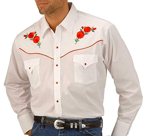 ELY CATTLEMAN Men's Embroidered Rose Design Western Shirt White Large