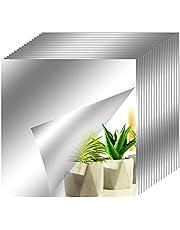 axuanyasi 18 stuks spiegeltegels zelfklevend, afgeronde hoeken spiegel sticker wandspiegel voor wanddecoratie (zilver, 15 x 15 cm)
