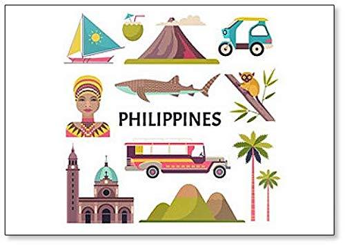 Imán para nevera con diseño de símbolos e iconos de Filipinas ...
