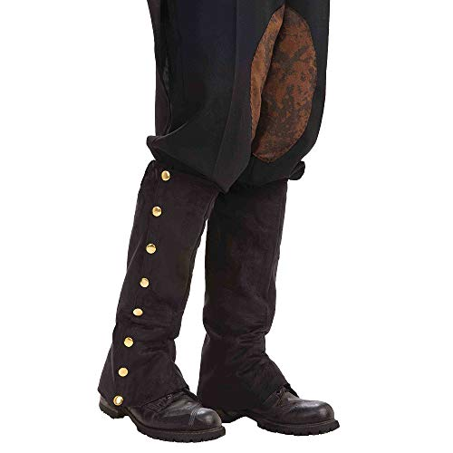 Forum Novelties Men's Adult Steampunk Suede Spats Costume Accessory, Black, One Size -