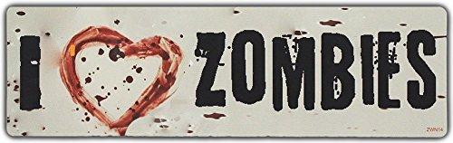 Bumper Sticker: I LOVE ZOMBIES w/Bloody Heart (Bloody Bolt Kit)