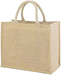 AMVBF New Linen Pu Coating Reusable Jute Shopping Bag Beach Blonde Handbags Canvas Tote Bags For Women Grocery Bag Large
