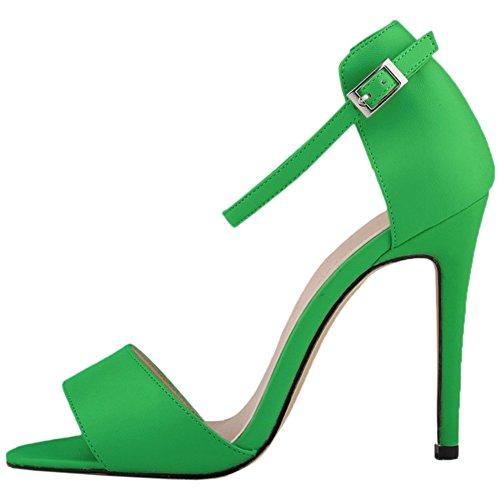 HooH Mujer Tacón alto Verano Sandalias Peep Toe Correa de tobillo Zapatos de tacón Sandalias Verde