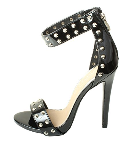 Tilly London High End Womens Studded Strappy Sandals High Heel Designer Feather Diamante Pearl Shoes Court Stiletto Black Silver Gold Pink Black Patent Studs 19Cr35G