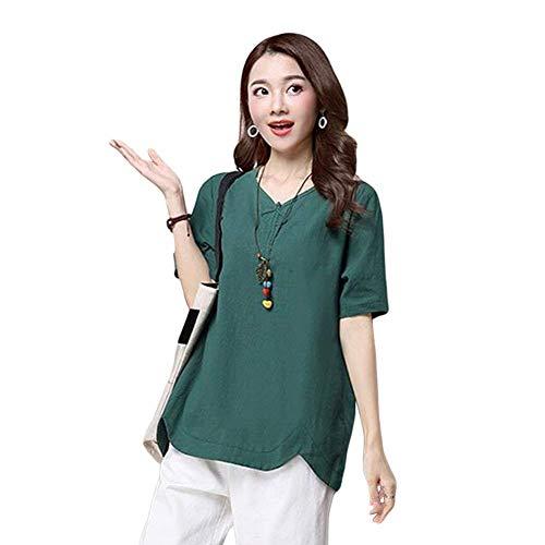 Bouffant Et Tops Confortables Haut Blouse Chemise Cou Costume Manche Mode Jeune Femme Uni Courtes Lin lgant Loisir V Chic Mode Manches Vert RwwEaqO